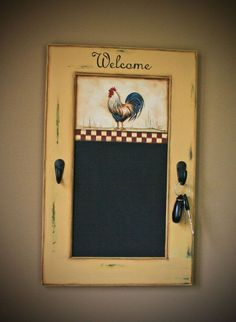 Chalkboard With Hand Painted Country Rooster. Rooster Kitchen DecorRooster  ...