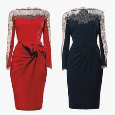 Knot or Bow? Black or Red? Choose what fits you best! Dresses For Work, Dresses With Sleeves, Knot, Bows, Long Sleeve, Fitness, Red, Collection, Black