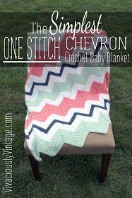 Ansley Designs: EASY Beginner Chevron Crochet Baby Blanket! Only ONE Stitch to…