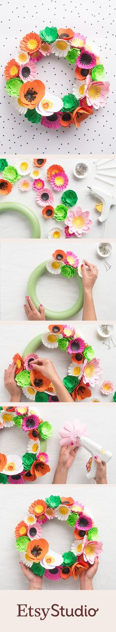 How to make a paper flower spring wreath in three easy steps. The results are a stunning three-dimensional wreath that stays fresh long after spring has sprung.