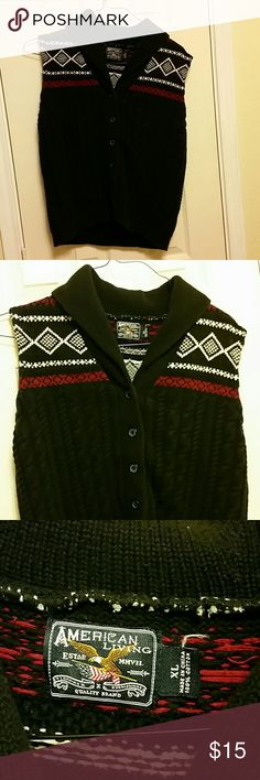 Black button down sweater vest Button closure thick warm vest, not fitted American Living Tops Camisoles