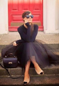 black style with a tulle skirt