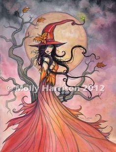 SALE Autumn Magic Fantasy Art Original Witch by MollyHarrisonArt