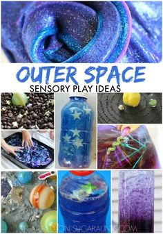 Galaxy and Outer Space Sensory Activities Outer space sensory play ideas. Sensory Bottles, Sensory Bins, Sensory Play, Space Preschool, Preschool Activities, Summer Activities, Family Activities, Outer Space Theme, Space Projects