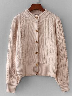 b047c24391 Shop Button Through Cable Knit Sweater online. SHEIN offers Button Through  Cable Knit Sweater   more to fit your fashionable needs.