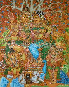 Mural painting of Sivakudumbam Kerala Mural Painting, Tanjore Painting, Kalamkari Painting, Lord Ganesha Paintings, Krishna Painting, Indian Traditional Paintings, Indian Paintings, Mural Wall Art, Murals