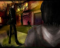 """""""Didn't we use to live in a neighborhood like this? I do not own Liu and Jeff, just the fanart! I've been dying to draw something with Liu in it. Creepypasta Ticci Toby, Creepypasta Proxy, Creepypasta Characters, Creepy Monster, Dont Hug Me, Jeff The Killer, Amazing Drawings, Urban Legends, Draw Something"""