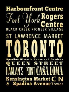 Items similar to Toronto, Canada, Typography Art Poster / Bus/ Transit / Subway Roll Art Attractions Wall Art on Etsy Toronto City, Toronto Travel, Toronto Canada, St Lawrence Market Toronto, Toronto Neighbourhoods, Pioneer Village, Rogers Centre, Canadian History, Typography Art