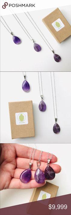 Natural Amethyst Teardrop Gold Edge Chakra Reiki Pendant Beads Necklace Earrings