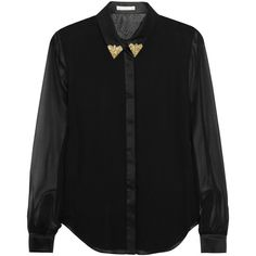 Jason Wu Embellished silk-chiffon shirt (10.330 UYU) ❤ liked on Polyvore featuring tops, shirts, blouses, blusas, black, loose sequin top, sequined shirt, beaded shirt, fitted shirts and embellished shirt