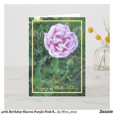 Shop Happy Retirement Wishes Purple Pink Rose Elegant Card created by Personalize it with photos & text or purchase as is! Wedding Anniversary Wishes, Anniversary Flowers, Anniversary Funny, Anniversary Cards, 30th Birthday Cards, Happy 40th Birthday, Happy Retirement Wishes, Birthday Roses, Personalized Note Cards