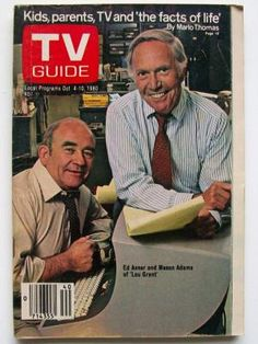 "TV Guide Ed Asner & Mason Adams from the TV show, ""Lou Grant"" -- a spinoff of the Mary Tyler Moore show.  Possibly the only comedy to spin off a Dramatic Series."