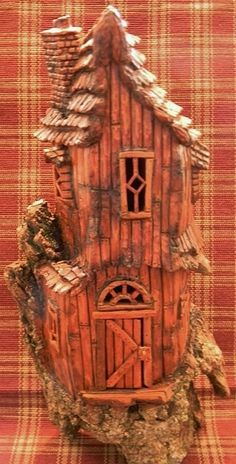 Bark Carving Lighthouse | Cottonwood Bark - Diamond Window house - carved by Norm Minske ...