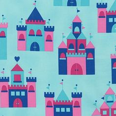 Designer Fabric, Fabric by the Yard, Princess Life, Princess fabric by Ann Kelle, Blue Princess Fabric, Castle in Crystal, Blue fabric