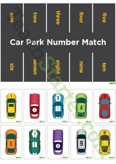 Teaching Resource: A car park themed number matching activity to use in the classroom when identifying the numbers from 1 to 10.