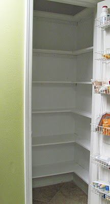 Pantry makeover using wood shelves, thinking this instead of straight, deep shelves. I like how they wrap around giving more space on the sides