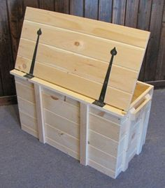 Made from quality pine, this wood pellet storage bin can be used to store firewood, blankets, toys, and more. Get the storage container for your home today! Wooden Storage Bins, Storage Bins With Lids, Decorative Storage Bins, Wooden Toy Boxes, Diy Storage Boxes, Wooden Crates, Wood Boxes, Storage Containers, Storage Chest