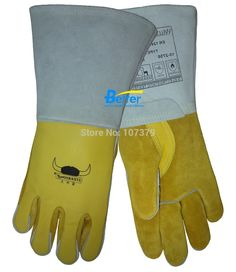 250 degree Celsius Heat Resistant Leather Work Gloves TIG MIG Grain Cow Leather Safety Glove Welding Gloves
