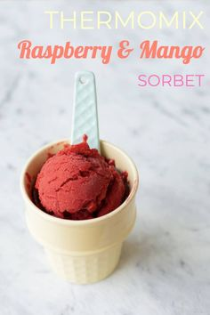 A refreshing Thermomix Raspberry Mango Sorbet that can be whipped up and ready on the table in five minutes. Mango Sorbet, Raspberry Sorbet, Frozen Meals, Frozen Desserts, Easy To Make Desserts, Thermomix Desserts, Mango Syrup, Poached Apples, Soft Serve