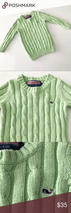 Vineyard Vines light green cable knit sweater Great condition. Has navy whale logo on chest Vineyard Vines Shirts & Tops Sweaters