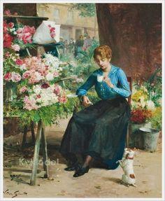 Victor-Gabriel Gilbert (French, 1847-1933) «La jolie fleuriste»