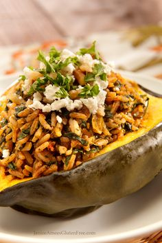 Gluten Free Curry Stuffed Acorn Squash by Janice Amee's Gluten Free
