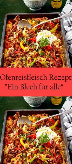 "Ofenreisfleisch Rezept ""Ein Blech für alle"" - Famous Last Words Meat Recipes, Cooking Recipes, Healthy Recipes, Turkey Lasagna, Oven Dishes, Food Humor, Four, Healthy Cooking, Food Inspiration"