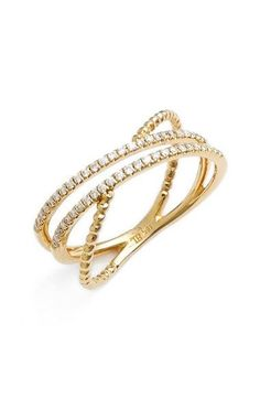 Bony Levy 'Amara' Crossover Diamond Stacking Ring (Nordstrom Exclusive) available at #Nordstrom
