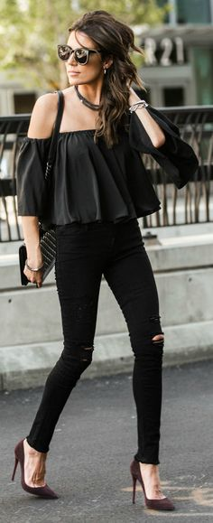 Christine Andrew + all black outfit + off the shoulder top + distressed denim jeans + plum stilettos + Neiman Marcus + perfect for instant street glam.   Top: ILY, Jeans: Nordstrom, Shoes: Neiman Marcus.