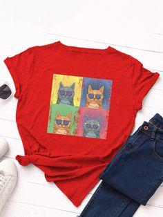 Cartoon Cat Print Loose Short Sleeve O neck T Shirt For Women P1824247, Meteor White / US 10