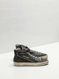 """Golden Goose """"Slide"""" Sneakers - Black Leather with Studs"""