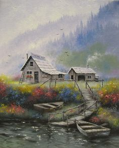 Alaska Wilderness Original Oil Painting Alaska paintings, Alaska cabin paintings, fishing boats, woods, river, rustic, landscape, Wade art