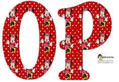 Oh my Alfabetos!: Alfabeto de Minnie Mouse en fondo rojo con lunares blancos. 2 versiones.