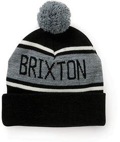 Add some stylish comfort to your dome with a grey and white stripe jacquard knit Brixton text upper on a black colorway and a grey pom on top.
