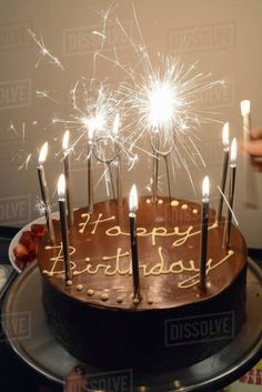 23 Brilliant Picture Of Birthday Cake Sparklers Chocolate With And Candles Stock Photo