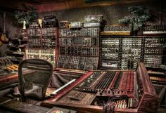 Analog synthesizer studio wires console