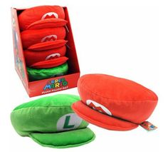 Mario/Luigi Hat throw pillows - my son is in a Super Mario Bros. phase and would love this!