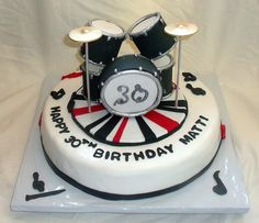 Edible Drum Set on Music Themed Fondant Birthday Cake by tanyacakes, via Flickr