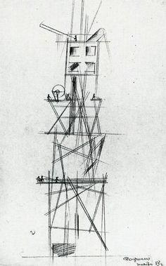 Alexander Rodchenko, Architectural Composition, Zhivskulptarkh, 1919