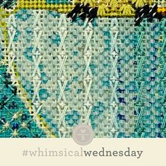 #whimsicalwednesday blog — whimsicalstitch.com I Respect You, Yellow Line, Needlepoint Stitches, Straight Stitch, Color Lines, Instagram Accounts, Basket Weaving, All The Colors, Fun Facts