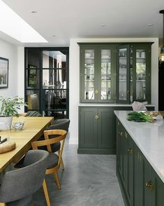 Learn about brand new kitchen decor tips and hints. Green Kitchen Interior, Green Kitchen Cabinets, Kitchen Dresser, Kitchen Furniture, Furniture Stores, Dining Room Cabinets, Furniture Movers, Furniture Outlet, Cheap Furniture
