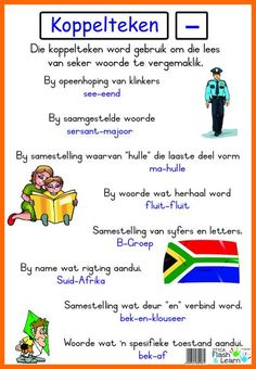 Koppelteken Available in Afrikaans only Teaching Posters, Teaching Aids, School Posters, Classroom Posters, Classroom Ideas, School Info, School Fun, School Stuff, Afrikaans Language