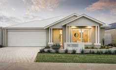 Homebuyers Centre Arcadian Display Home - Hilbert, WA Australia Buying A House Australia, House Extension Design, House Design, House Elevation, Front Elevation, Hamptons House, Display Homes, Exterior House Colors, Facade House