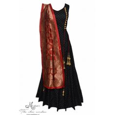 Classic black stitched anarkali accentuated with buttons and hanging tassels