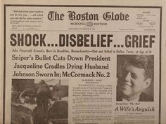 Boston Globe Edition JFK Assassination Newspaper from November 23, 1963