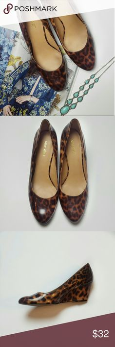 """Nine West Leopard Print Patent Leather Mela Wedge Fun wedge heels in great condition. Perfect paired with distressed boyfriend jeans or a fun dress for daytime/night out!  2 1/2"""" heel Nine West Shoes Wedges"""