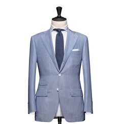Tailored 2-Piece Suit – Fabric 4599 Stripe Blue Cloth weight: 225g Composition: 68% Wool 25% Linen and 17% Mohair