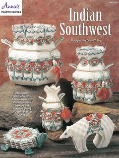"""Experience the warmth and splendor of the Indian Southwest when you stitch these nine 7-count plastic canvas pieces. make a 19 1/2"""" x 14"""" wall-hanging, 5"""" x 7 1/4"""" x 1 1/2"""" bear accent, for 4 1/2"""" square coasters Indian Southwest in Plastic Canvas Patterns (aff link)"""