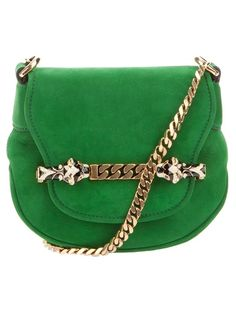 Green suede leather bag from Gucci featuring a front flap with a gold-tone chain detail, two python head push-stud closures and a gold-tone chain shoulder strap.The interior features a cotton twill lining and a leather logo patch.