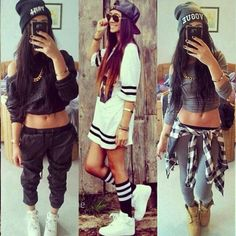 Swag, swag outfits for girls, urban outfits, hip hop dance outfits, swag gi Summer Swag Outfits, Dope Swag Outfits, Swag Outfits For Girls, Outfits Casual, Urban Outfits, Girl Outfits, Fashion Outfits, Swag Girls, Fashion Pants
